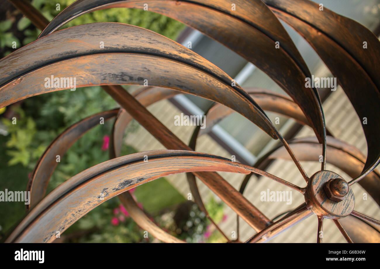 Nice Golden Metal Whirligig In Garden, Metal Golden Leafs In Garden,  Gardening,nice