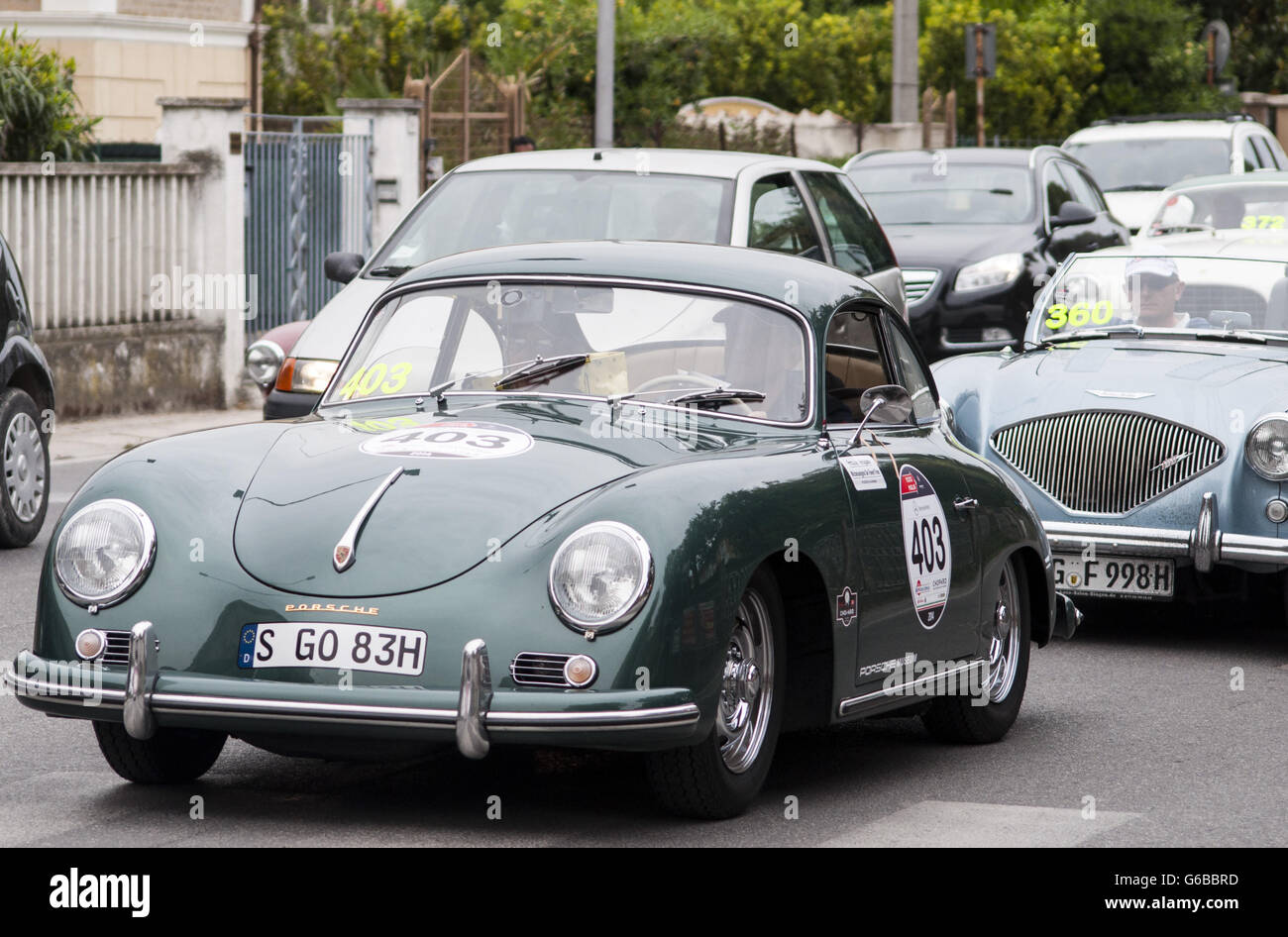 FANO, ITALY - MAY 16: Porsche 356 A 1600 old racing car in rally ...