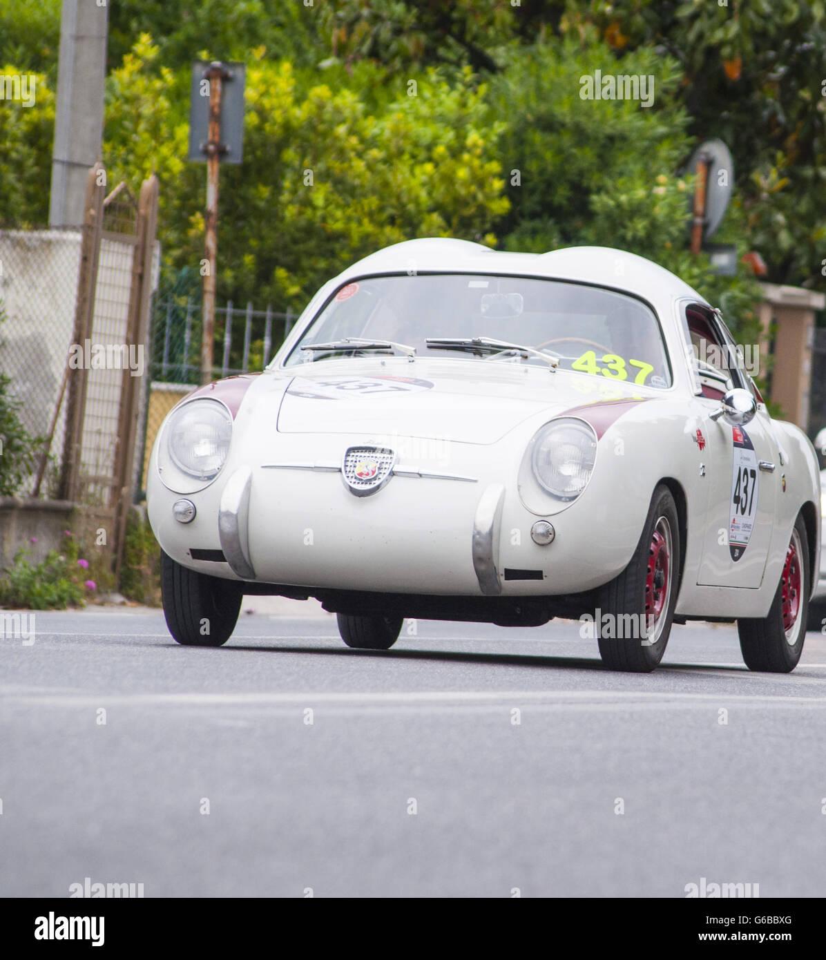 FANO, ITALY - MAY 16 :Abarth FIAT 750 berlinetta Zagato old racing car in rally Mille Miglia 2014 the famous italian - Stock Image