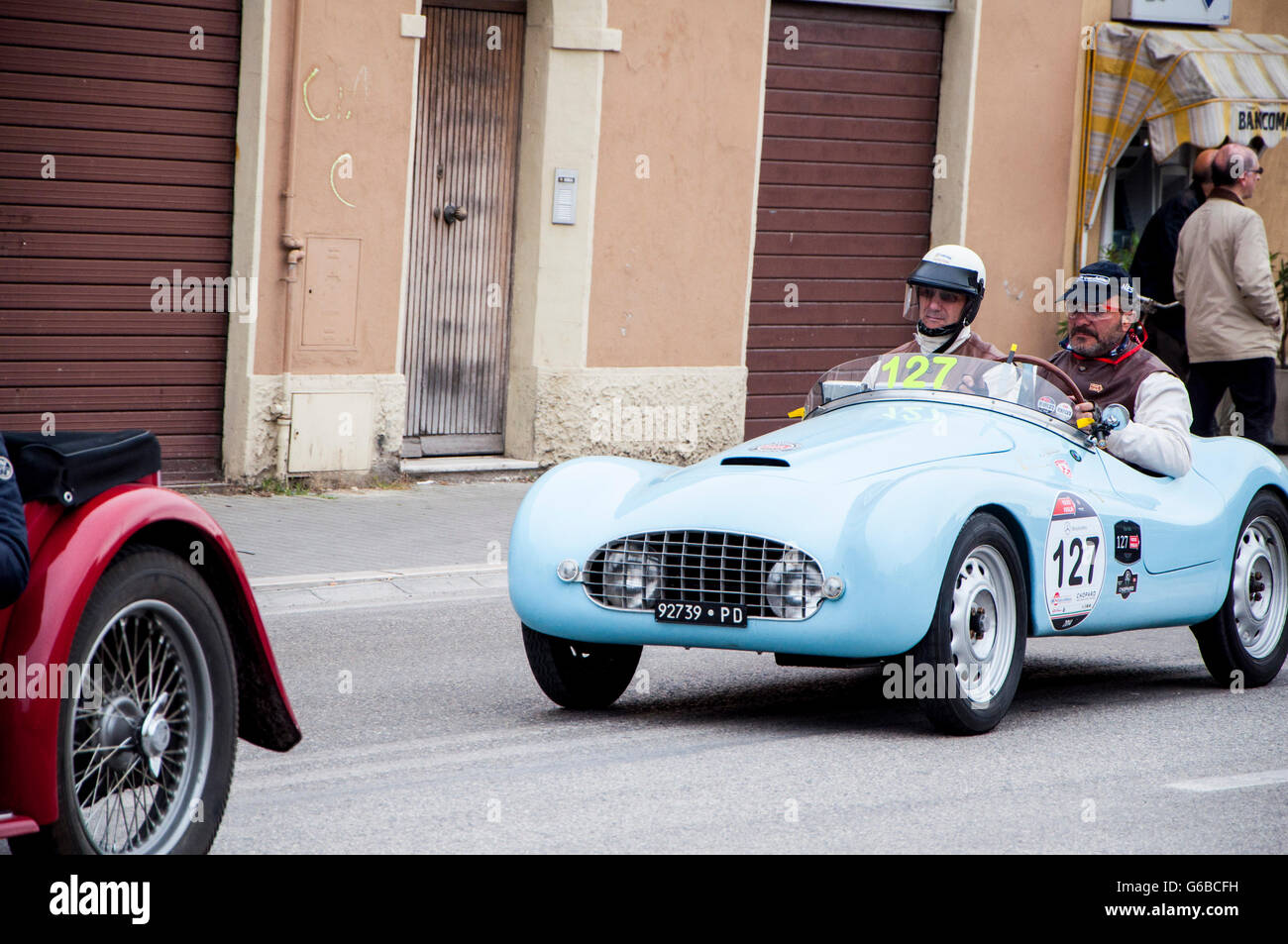 FANO, ITALY - MAY 16: FIAT 500 A Sport old racing car in rally Mille Miglia 201 4 the famous italian historical - Stock Image