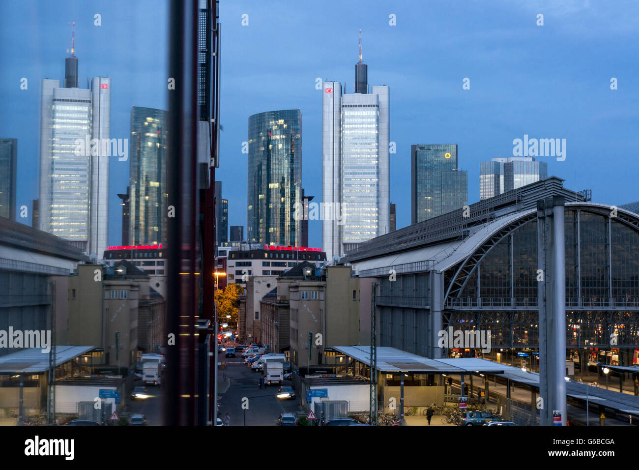 Germany: Skyline of Frankfurt with Skyper, Silberturm, Gallileo, Eurotower und Central Station (left to right). Stock Photo