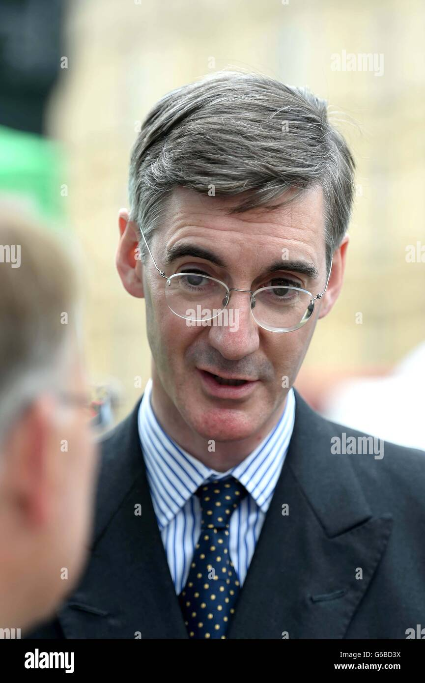 Jacob William Rees-Mogg MP on the day of the EU Referendum result in London. - Stock Image