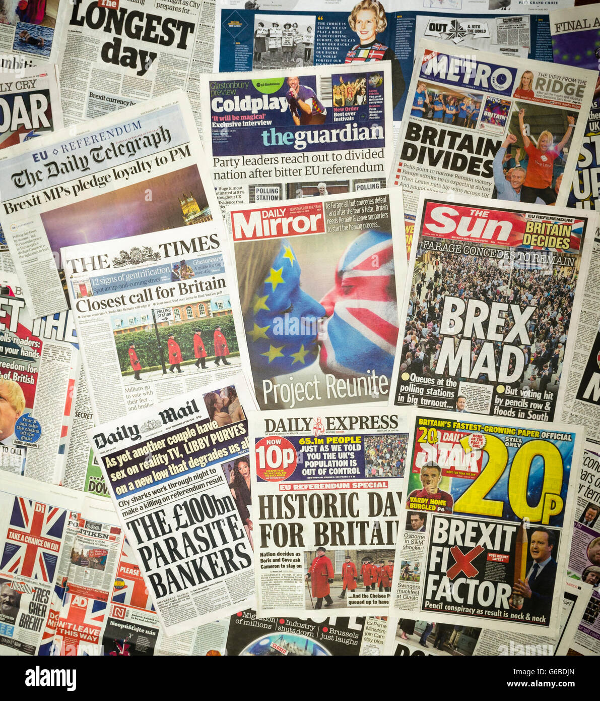 British newspaper front pages reporting on the day after the EU Referendum. - Stock Image
