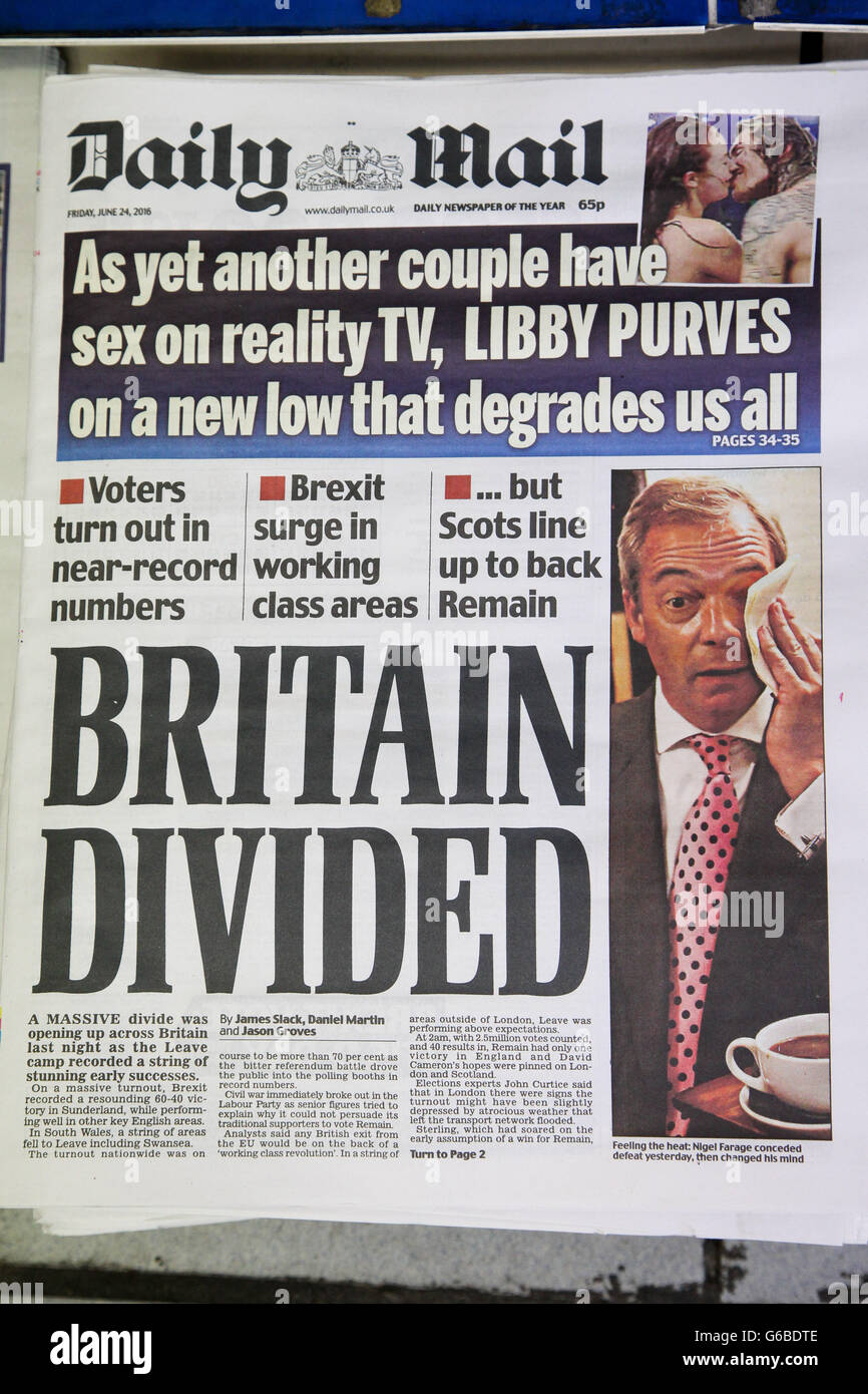 24th June 2016 Daily Mail British Newspaper Front Pages Coverage On The Day After The Eu Referendum Voting Credit Dinendra Haria Alamy Live News