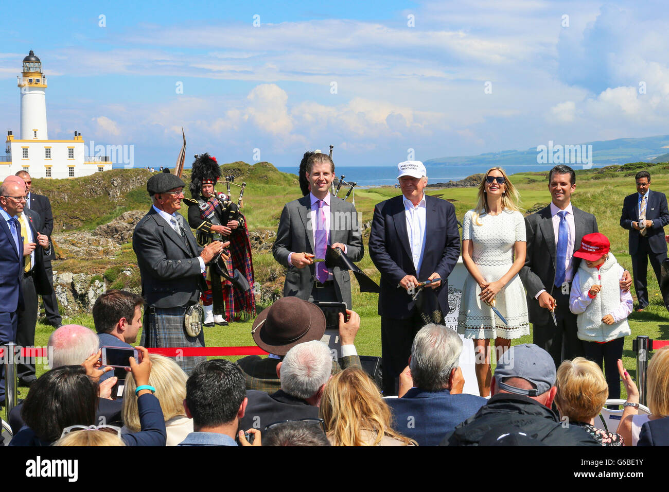 Turnberry, Scotland, UK. 24th June, 2016. Donald Trump flew into Scotland today to officially open his multimillion - Stock Image