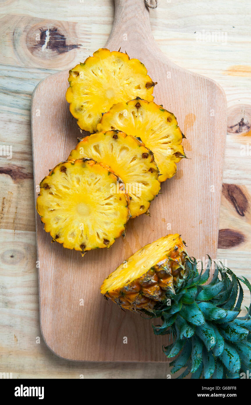 pineapple with slices - Stock Image