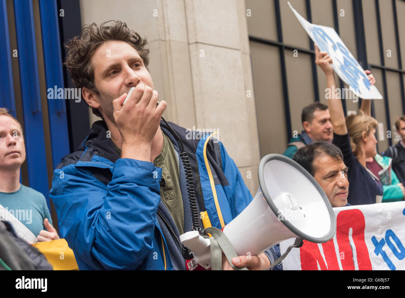London, UK. June 29th, 2016. Petros Elia, General Secretary of the United Voices of the World union speaks at the Stock Photo
