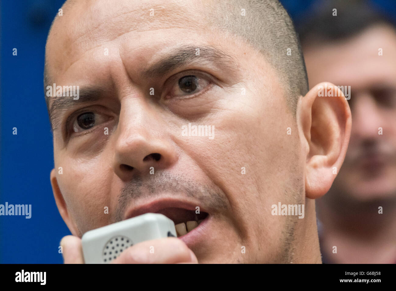 London, UK. June 29th, 2016. Striking cleaner Juan Carlos, a member of the United Voices of the World union employed Stock Photo