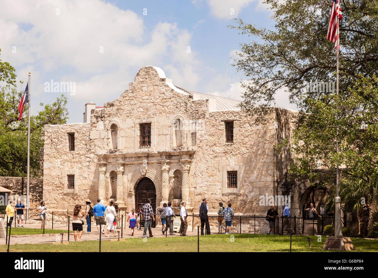 The Alamo Mission in San Antonio, Texas - Stock Image