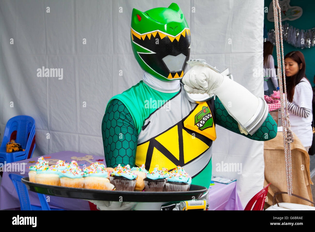 SANTA MONICA, CA - JUNE 11: The Green Ranger attends the Ovarian Cancer Research Fund Alliance's 3rd Annual - Stock Image