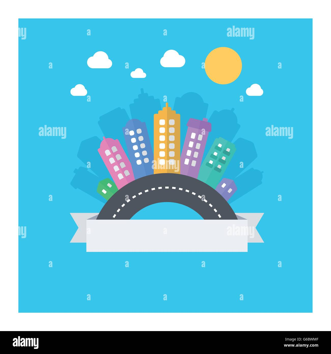 Vector design of modern cityscape with text area. Illustration with modern flat icons: road, buildings, sky. - Stock Image