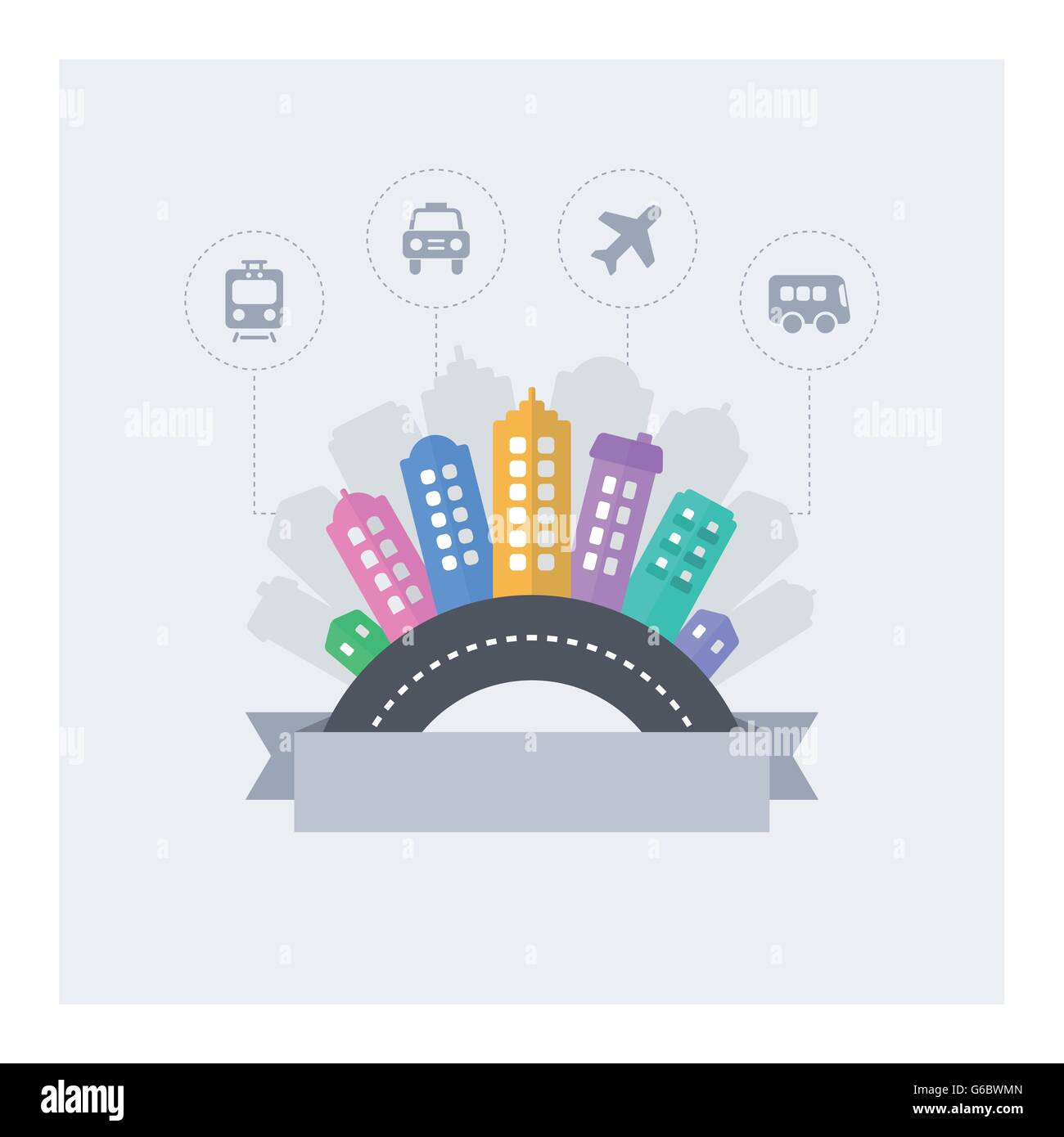 Smart city. Vector design of modern smart cityscape with text area and urban transport icons. - Stock Image