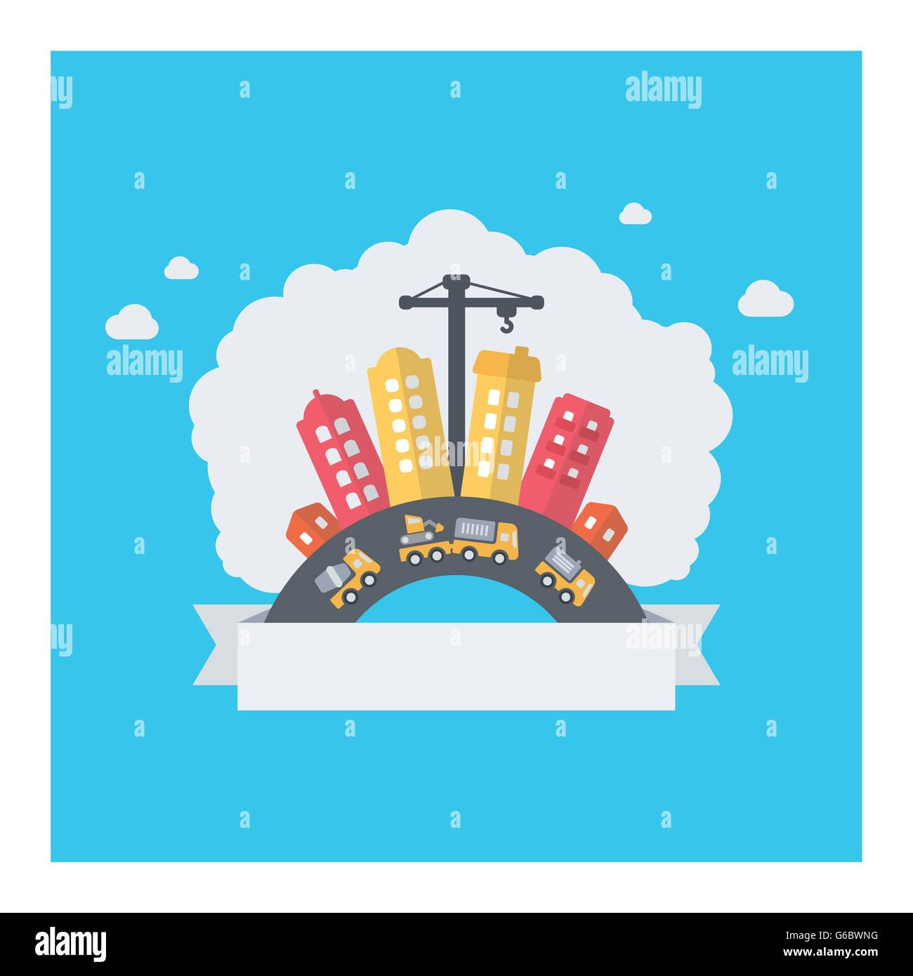 Urban city building. Vector design of modern cityscape with text area and construction work. - Stock Vector