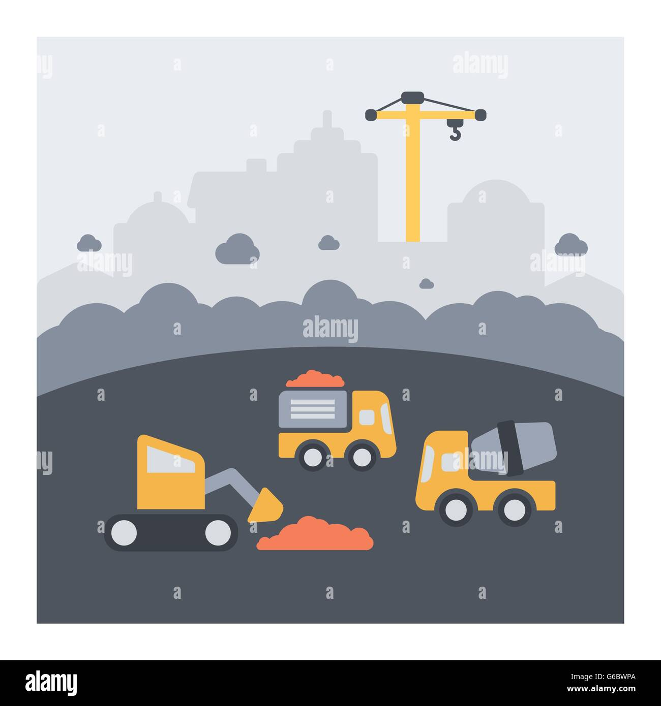 Urban landscape of urban construction work. Flat icons, dust and vehicles in action. - Stock Vector