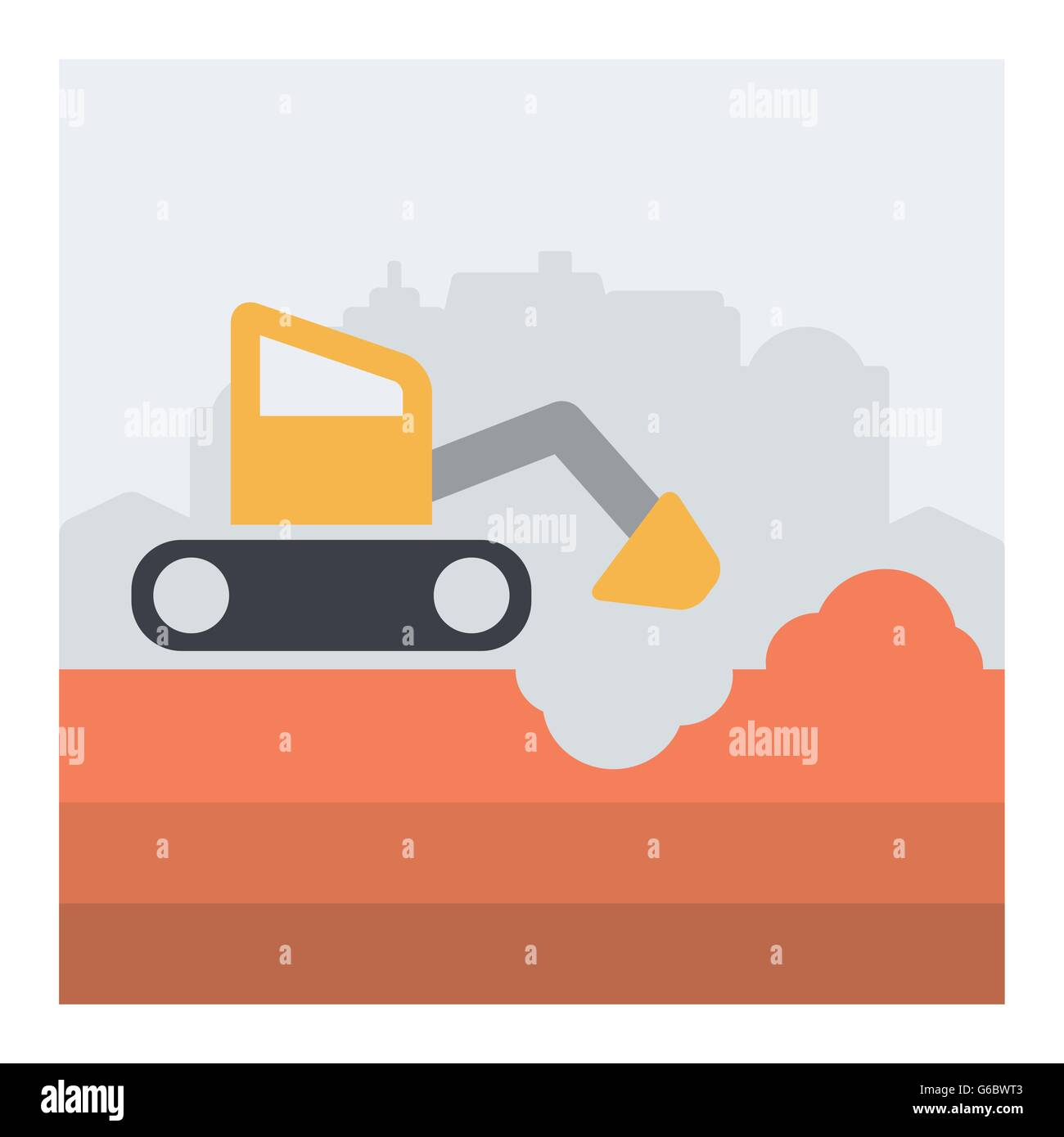 Vector illustration with scene of excavator in action. - Stock Vector