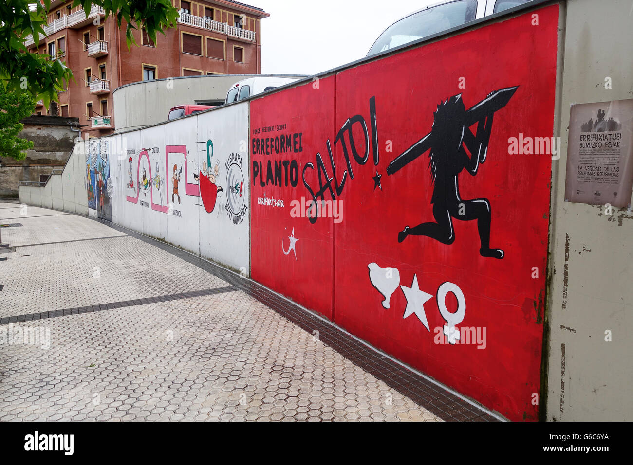 Basque graffiti in Pasaia or Pasajes located in the province of Gipuzkoa in the Basque Region of Spain - Stock Image