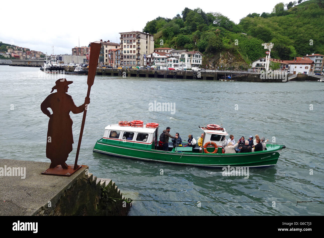 Pasaia or Pasajes located in the province of Gipuzkoa in the Basque Region of Spain ferry boat - Stock Image