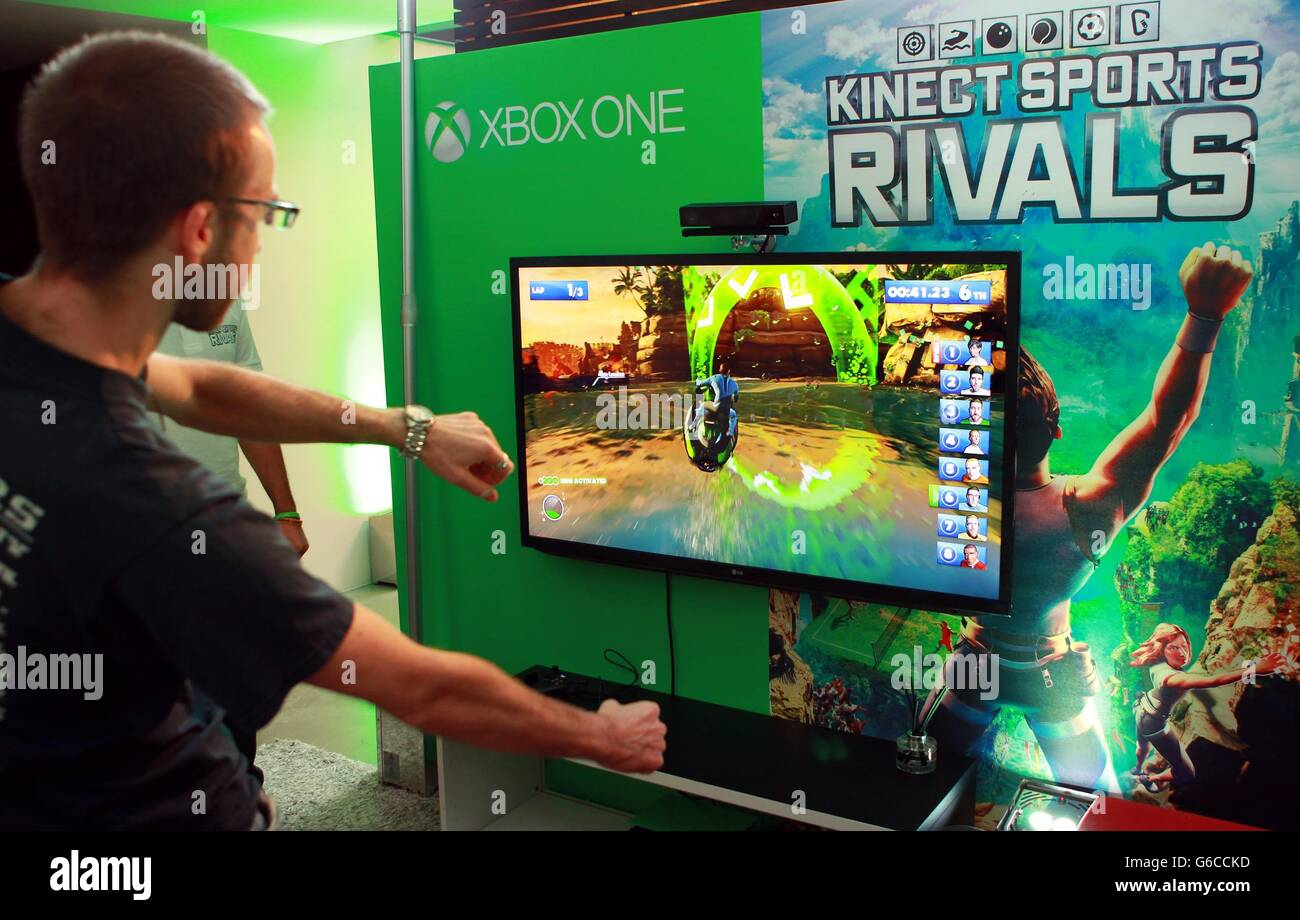 People Play On Kinect Sports Rivals On The Xbox One Stock