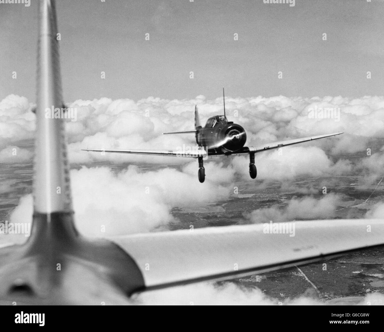 1940s WORLD WAR II ACCELERATED PILOT BASIC TRAINING PLANES ARMY AIR CORPS RANDOLPH FIELD TEXAS USA - Stock Image