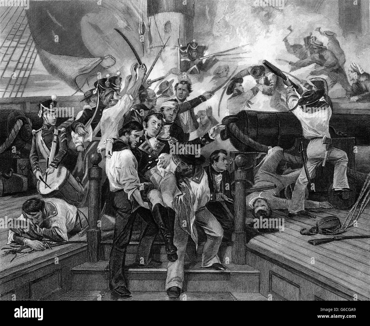 1810s AUGUST 1813 DEATH OF CAPTAIN LAWRENCE NAVAL BATTLE WAR OF 1812 LAST WORDS DON'T GIVE UP THE SHIP - Stock Image