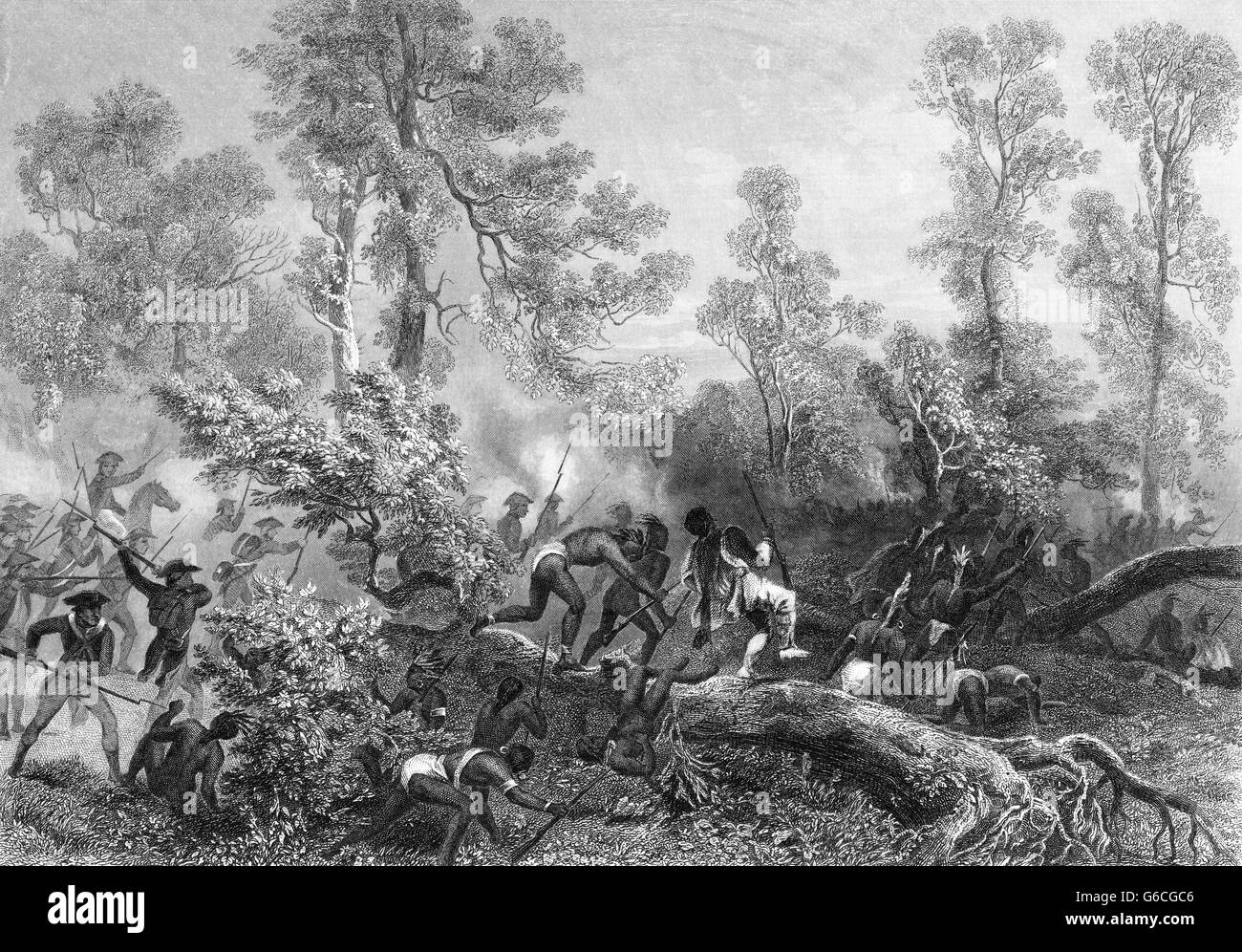 JANUARY 1791 AMERICAN TROOPS FIGHTING NATIVE AMERICAN INDIANS BATTLE OF MIAMI OHIO - Stock Image