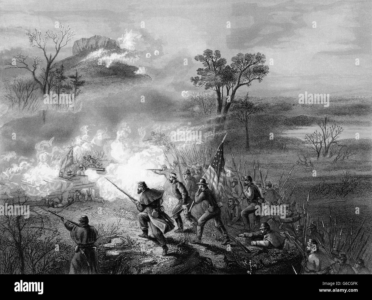1860s NOVEMBER 1863 DURING THE CHATTANOOGA CAMPAIGN AMERICAN CIVIL WAR BATTLE OF LOOKOUT MOUNTAIN GEORGIA USA - Stock Image