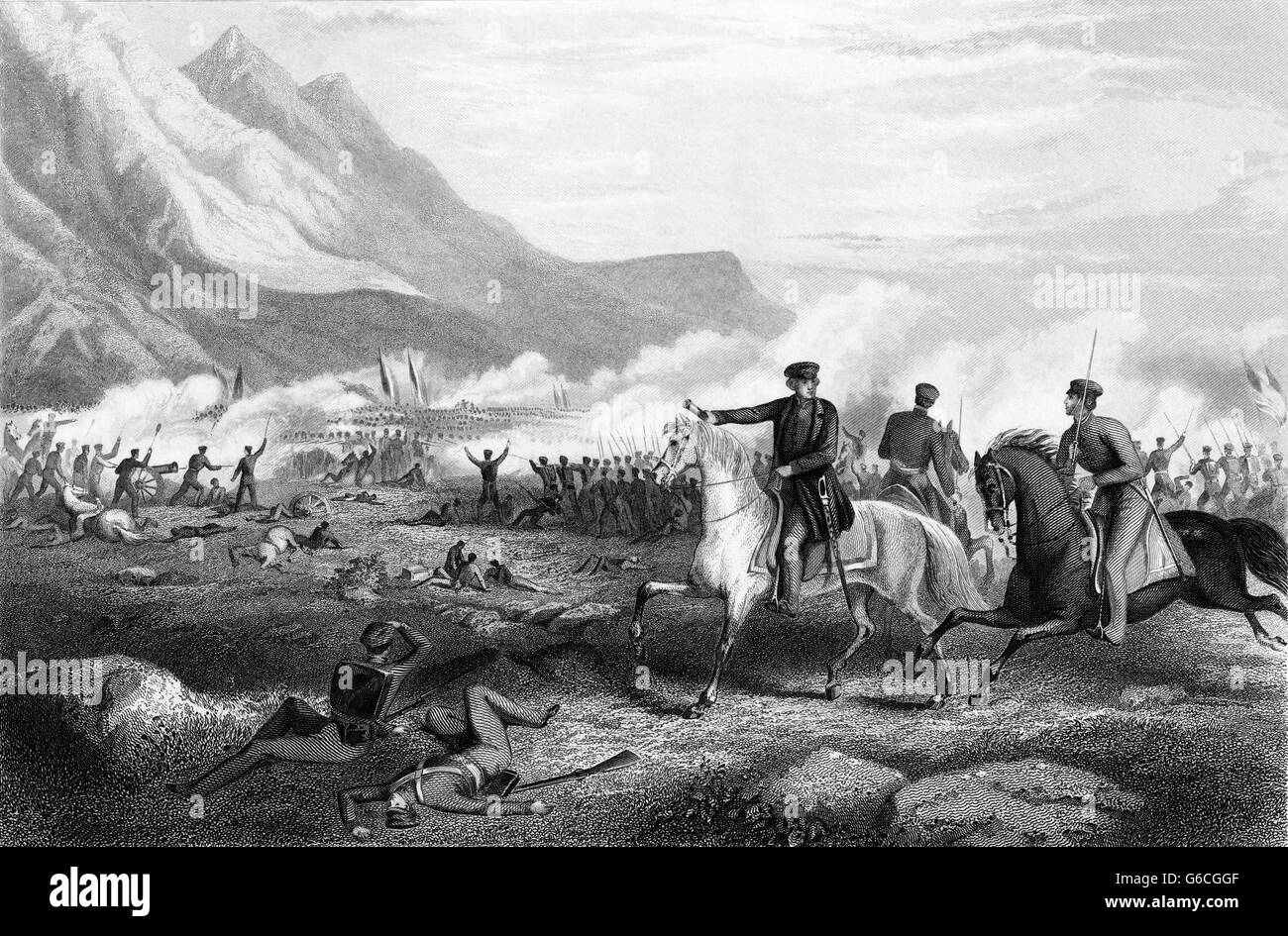 1840s FEBRUARY 1847 GENERAL ZACHARY TAYLOR DIRECTING TROOP BATTLE OF BUENA VISTA DURING MEXICAN AMERICAN WAR - Stock Image