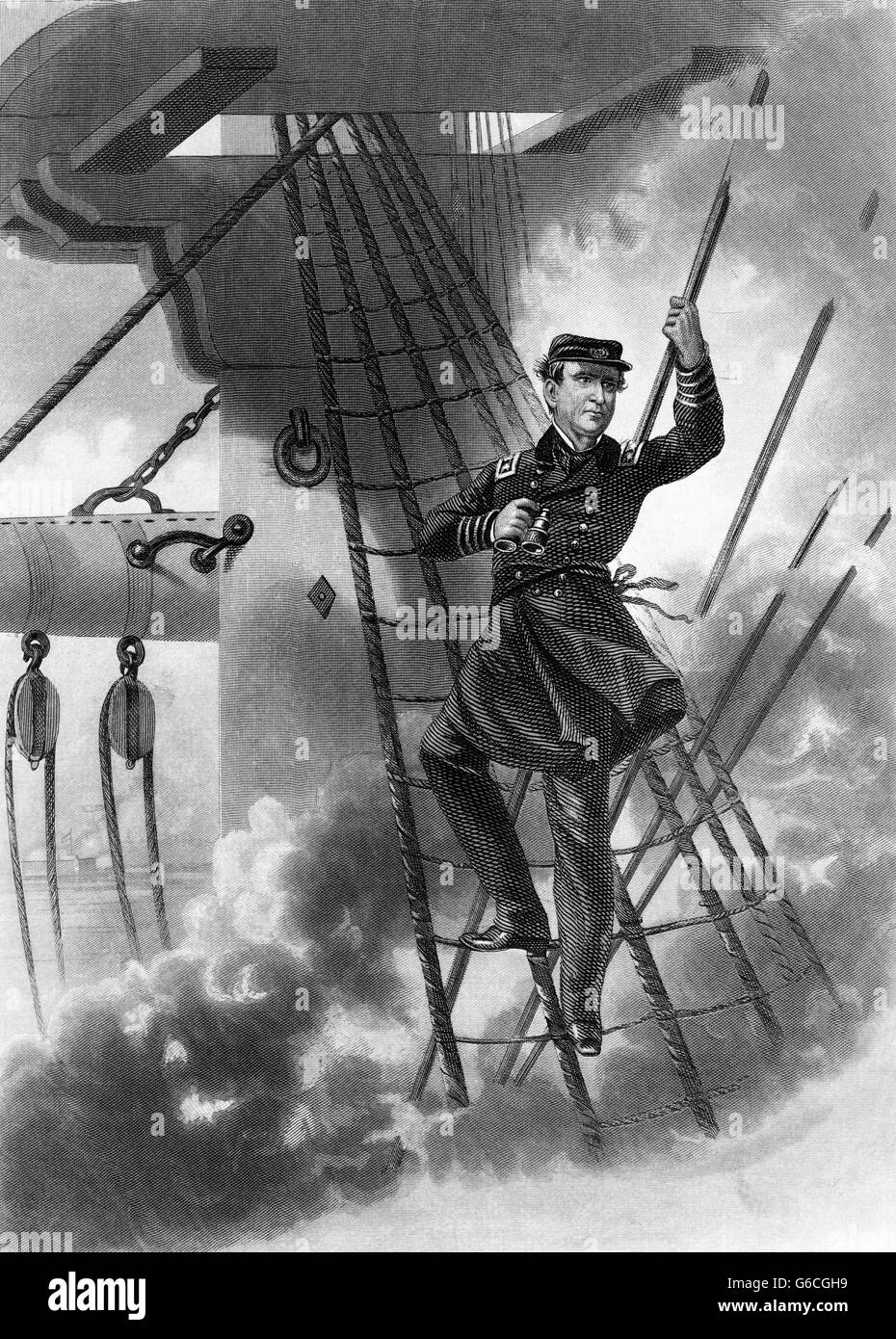 1860s AUGUST 1864 BATTLE MOBILE BAY ALABAMA REAR ADMIRAL DAVID FARRAGUT LASHED TO RIGGING DAMN THE TORPEDOES FULL - Stock Image