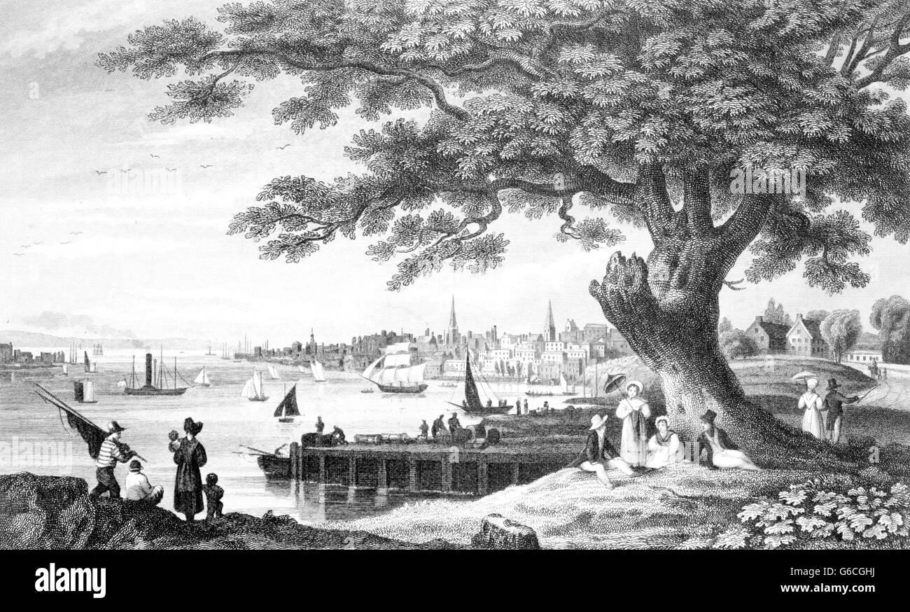 EARLY 1800s SKYLINE PEOPLE STROLLING ALONG WATERFRONT OF PHILADELPHIA PA USA - Stock Image