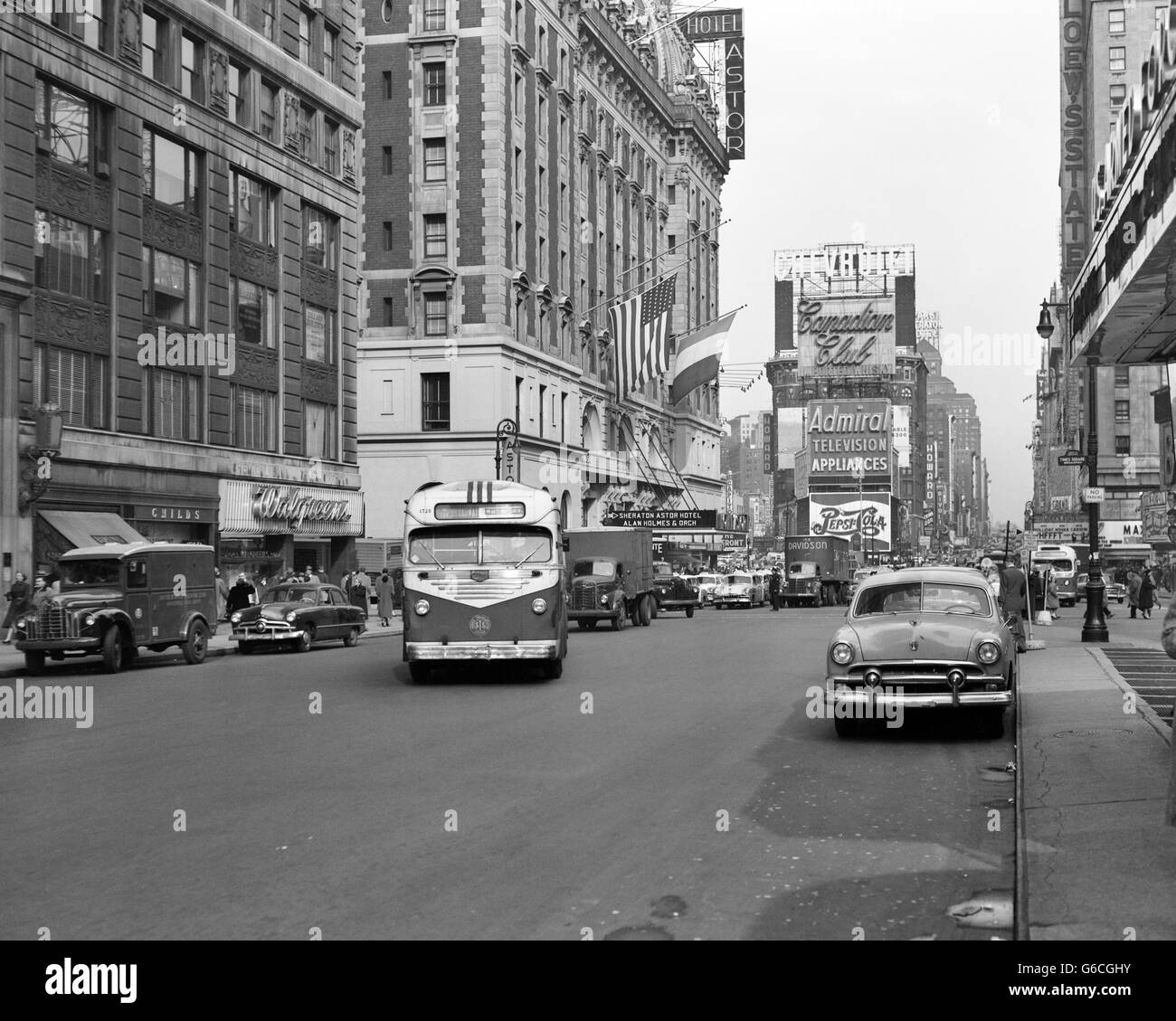 1950s NEW YORK CITY TIMES SQUARE TRAFFIC BROADWAY BUS