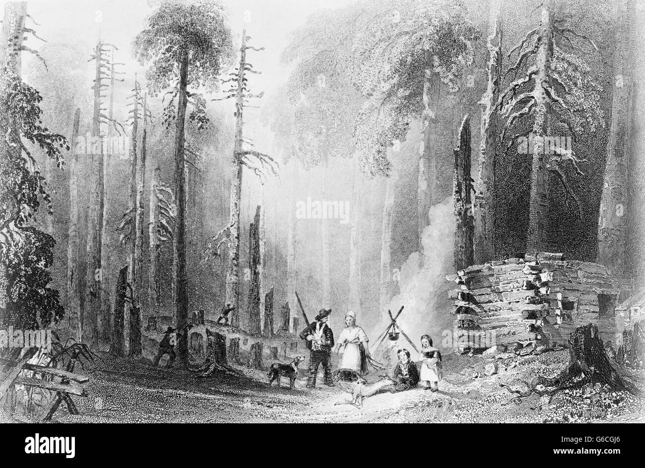 1840s 1850s ENGRAVING W.H. BARLETT'S PAINTING FIRST SETTLEMENT OF FRONTIER PIONEERS LOG CABIN FAMILY ANIMALS - Stock Image