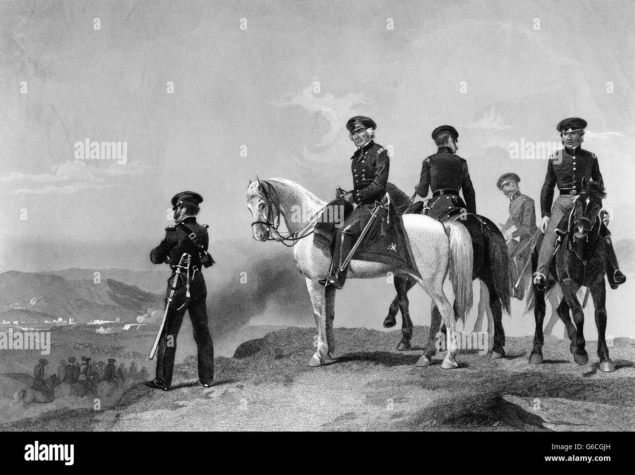 1840s GENERAL ZACHARY TAYLOR ON HORSE OVERLOOKING BATTLEFIELD BATTLE OF MONTERREY MEXICAN-AMERICAN WAR SEPTEMBER - Stock Image