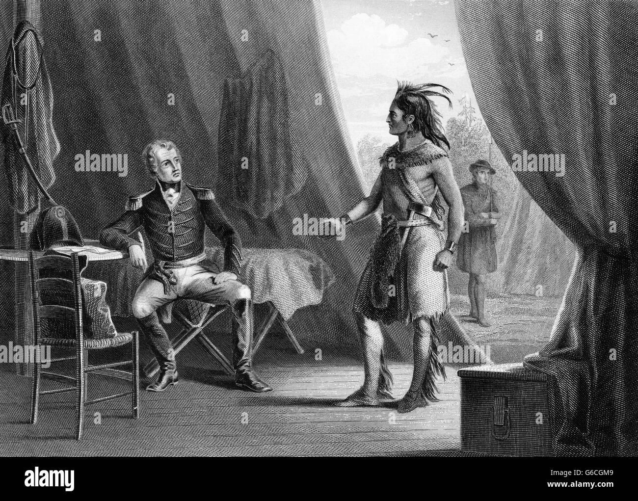 1814 GENERAL ANDREW JACKSON & RED EAGLE WEATHERFORD AFTER INDIAN DEFEAT BATTLE OF HORSESHOE BEND ALABAMA CREEK - Stock Image