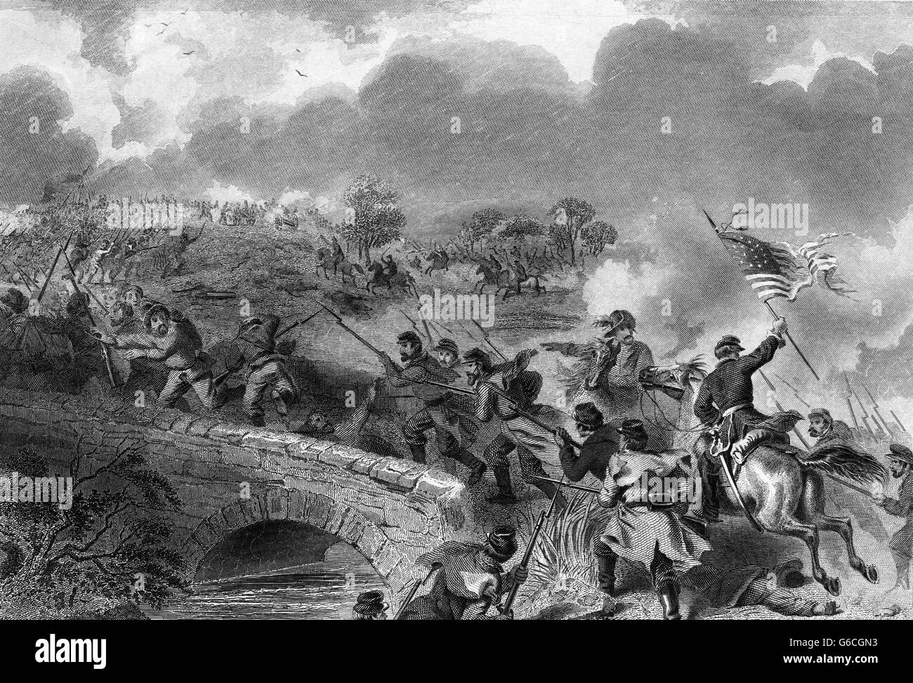 1860s BURNSIDE'S TAKING OF THE BRIDGE AT BATTLE OF ANTIETAM CREEK SHARPSBURG MARYLAND SEPTEMBER 1862 - Stock Image