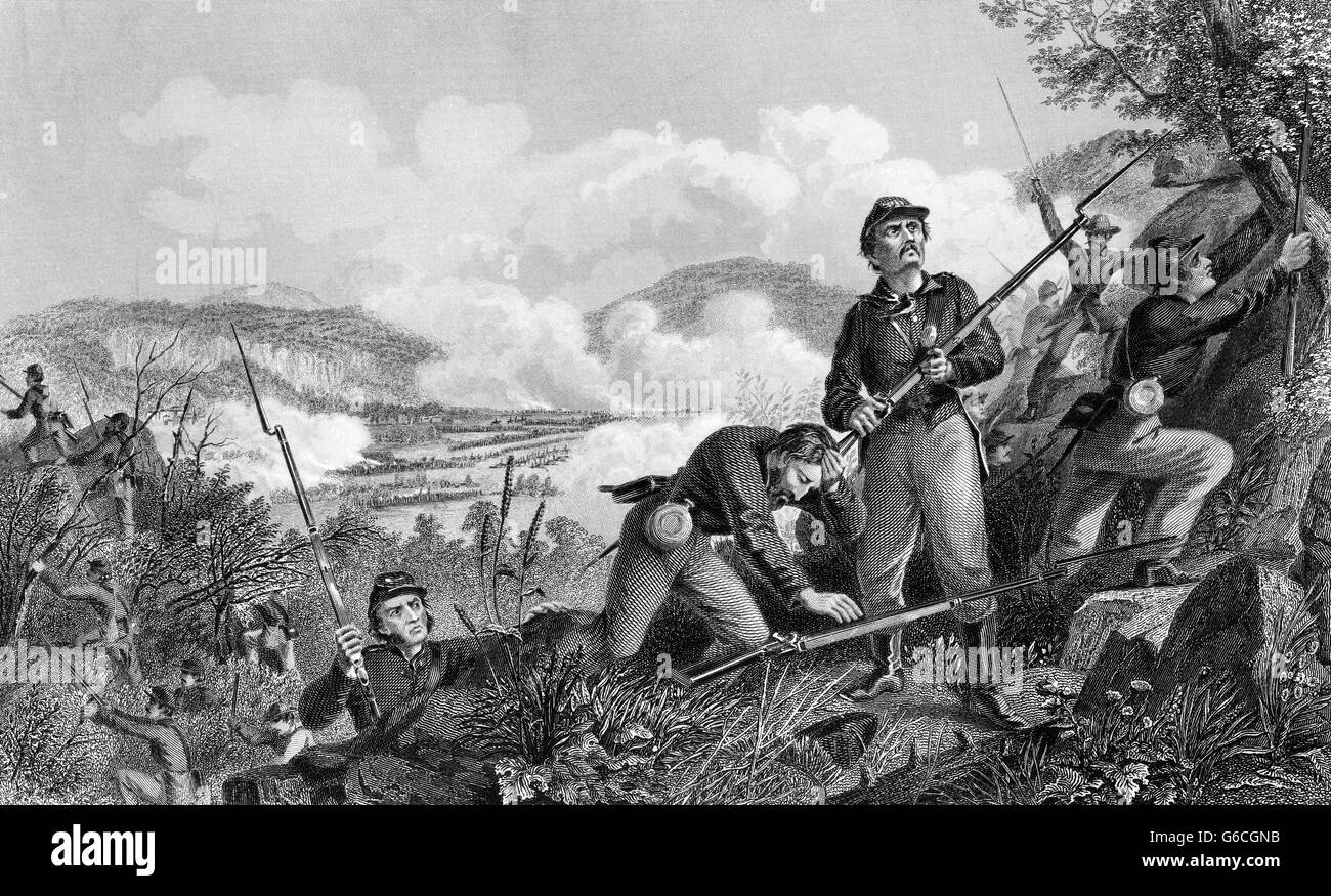 1860s NOVEMBER 1863 BATTLE OF LOOKOUT MOUNTAIN TENNESSEE DURING THE CHATTANOOGA CAMPAIGN - Stock Image
