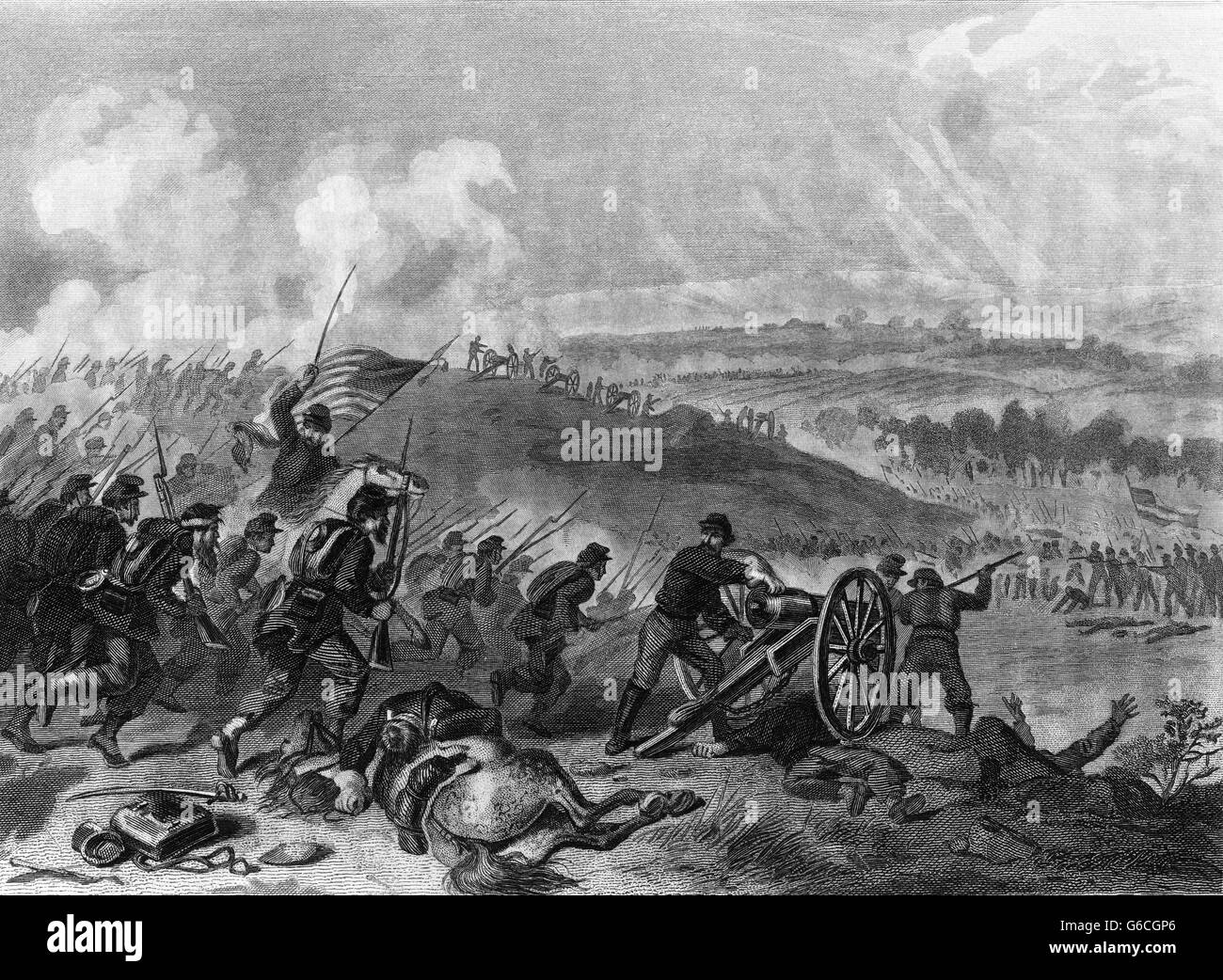 1860s JULY 1863 BATTLE OF GETTYSBURG FINAL CHARGE OF UNION FORCES AT CEMETERY HILL - Stock Image