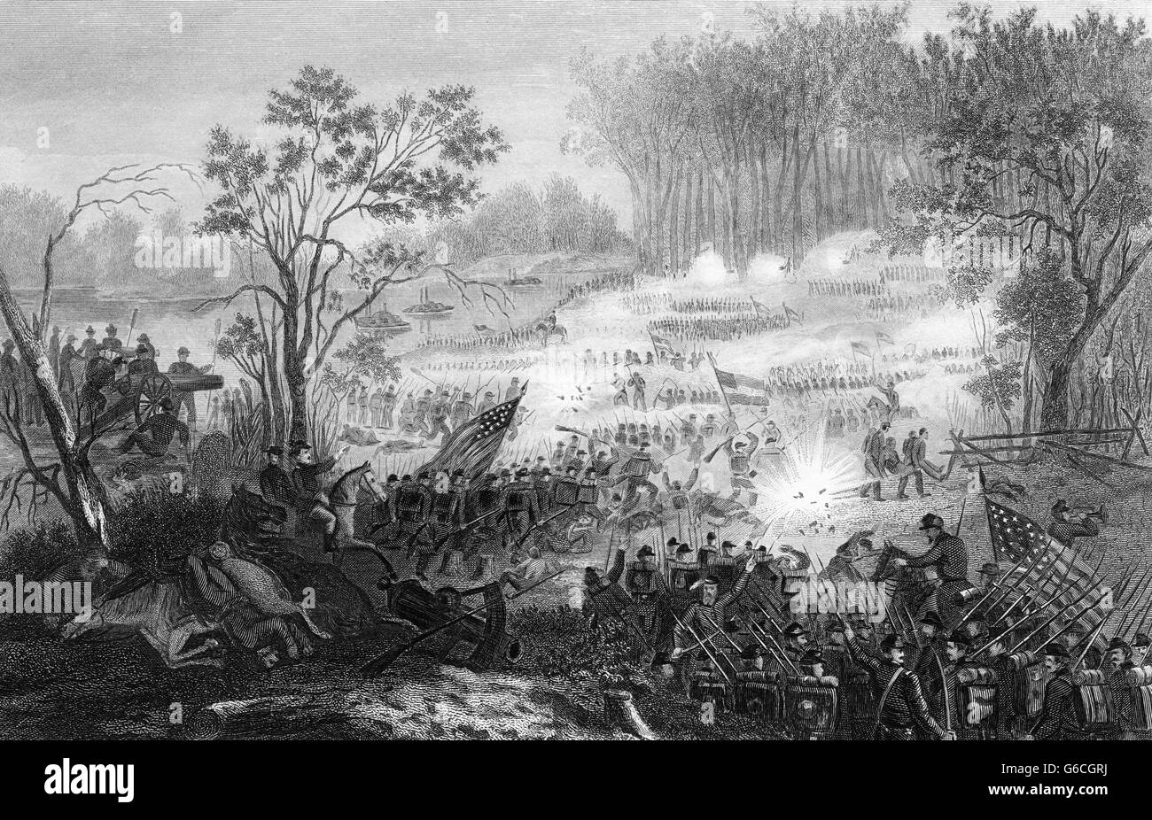 1860s APRIL 1862 AMERICAN CIVIL WAR THE BATTLE AT PITTSBURG LANDING SHILOH TENNESSEE USA - Stock Image
