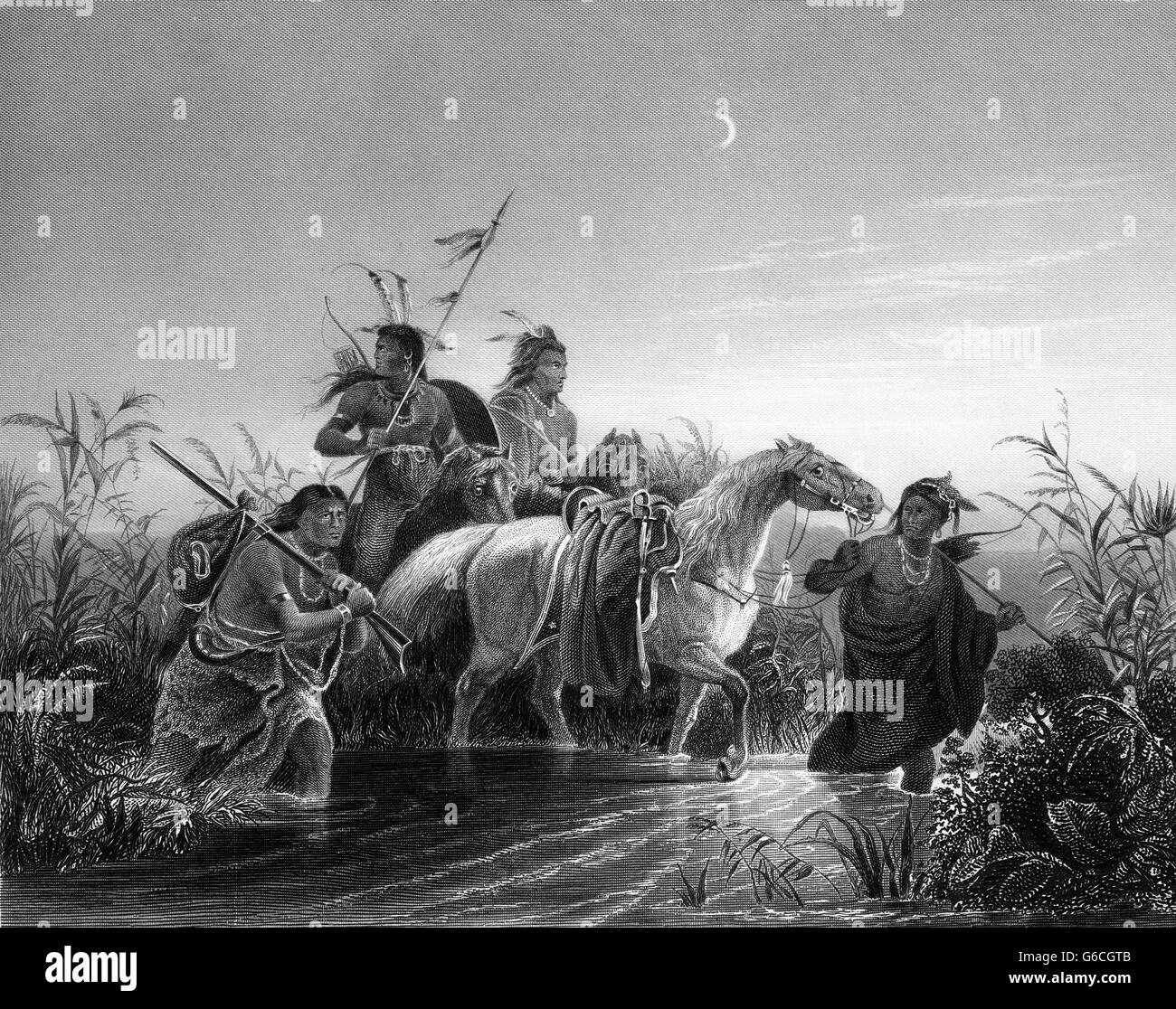 1850s ENGRAVING OF KARL WIMAR PAINTING THE CAPTIVE CHARGER NATIVE AMERICANS LEADING AWAY A CAPTURED CAVALRY HORSE - Stock Image