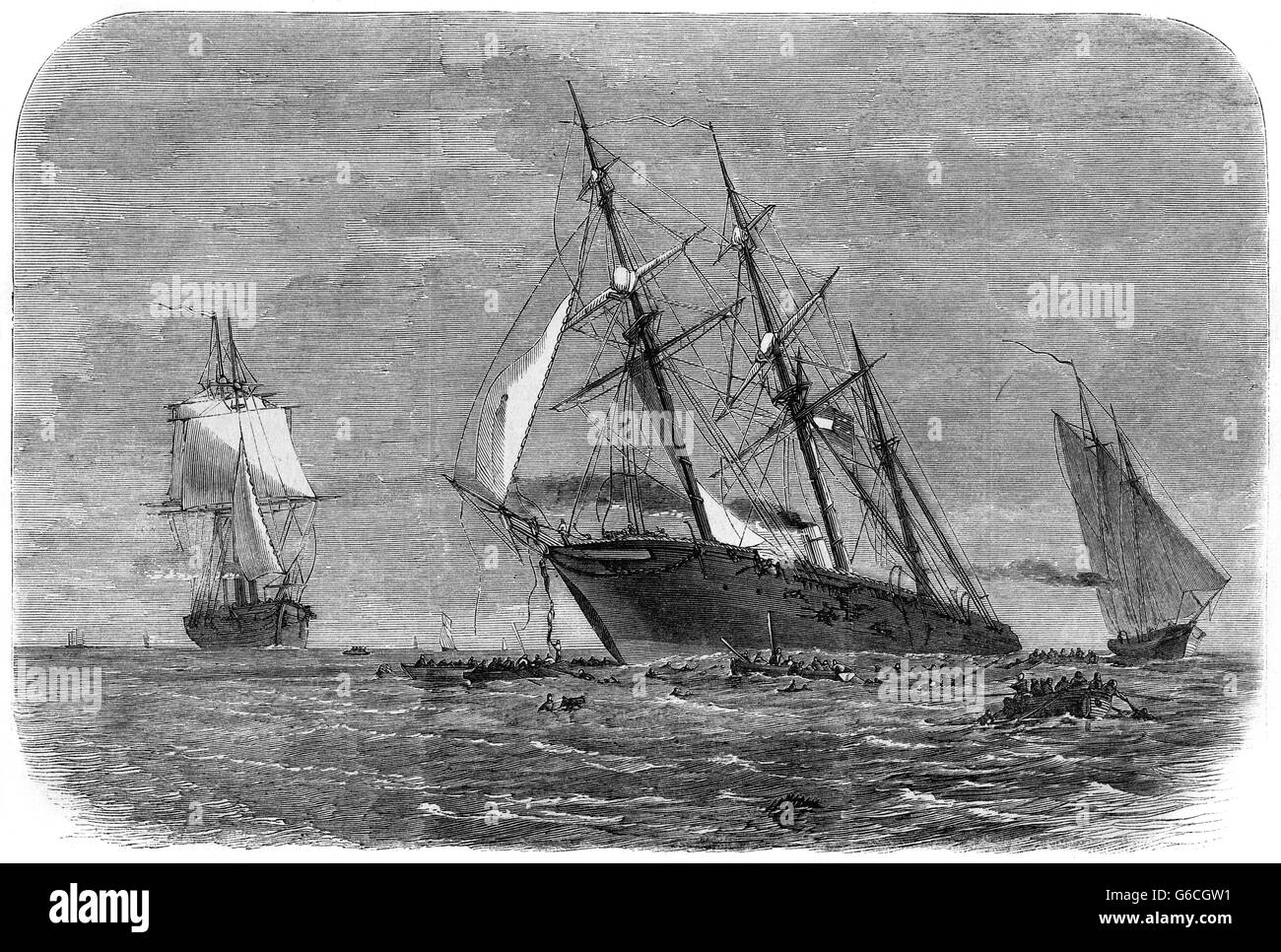 1860s JUNE 1864 UNION SHIP THE STEAMER KEARSARGE SINKS THE PIRATE ALABAMA OFF THE COAST OF CHERBOURG FRANCE - Stock Image