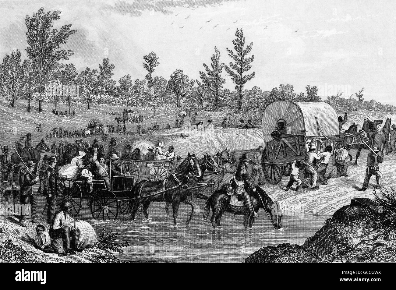 1860s 1864 FREED SLAVE FAMILIES AND CONTRABAND THE REAR GUARD OF GENERAL SHERMAN'S MARCH THROUGH GEORGIA USA - Stock Image