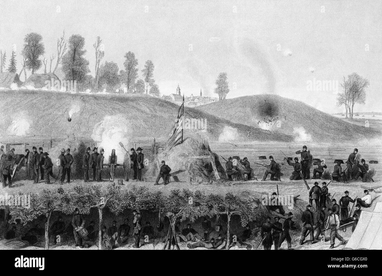 1860s MAY JUNE JULY 1863 UNION FORCES SIEGE OF CONFEDERATED DEFENDING VICKSBURG MISSISSIPPI USA - Stock Image