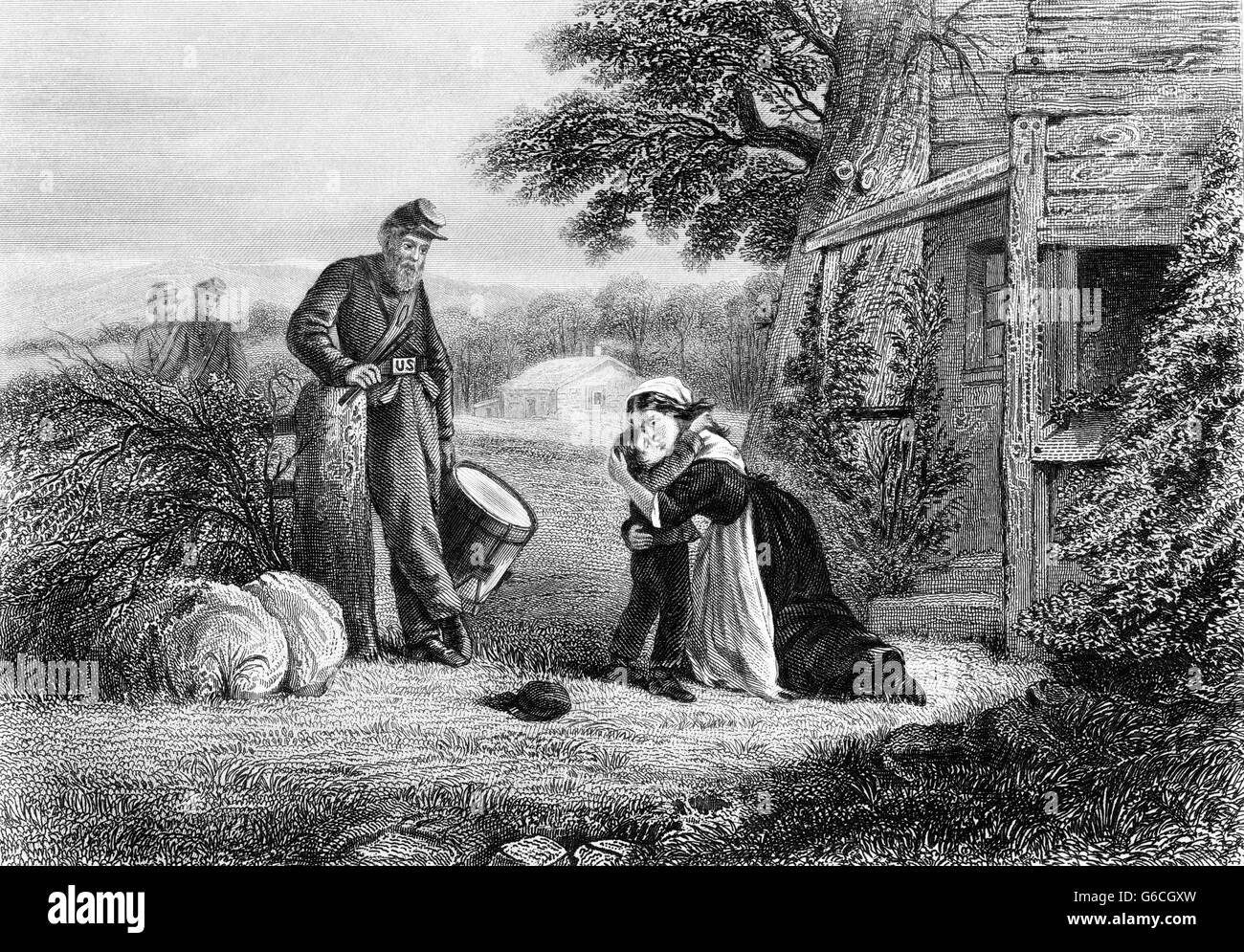 1860s THE MOTHERS SACRIFICE KISSING HER YOUNG SON ABOUT TO BECOME A DRUMMER BOY FOR UNION TROOPS IN AMERICAN CIVIL - Stock Image