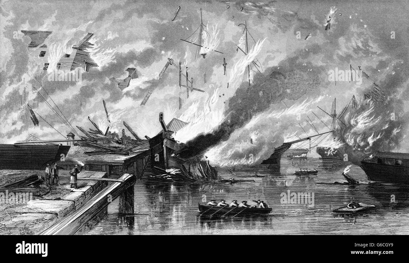 1860s 1862 DESTRUCTION OF GOSPORT NAVY YARD BY CONFEDERATES NORFOLK VIRGINIA - Stock Image