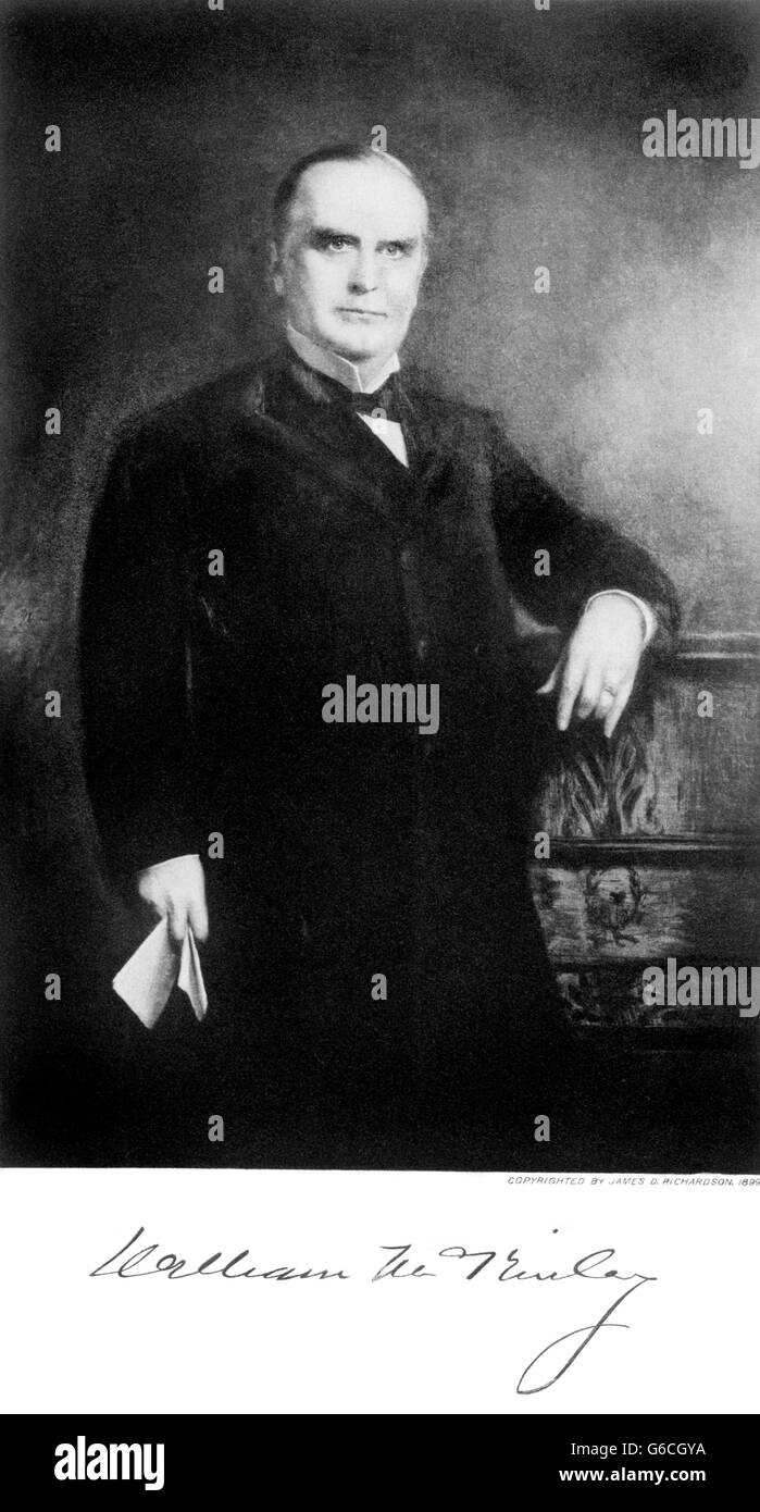 1890s PORTRAIT WILLIAM MCKINLEY 24TH PRESIDENT OF THE UNITED STATES  ASSASSINATED BY ANARCHIST LEON CZOLGOCZ IN - Stock Image