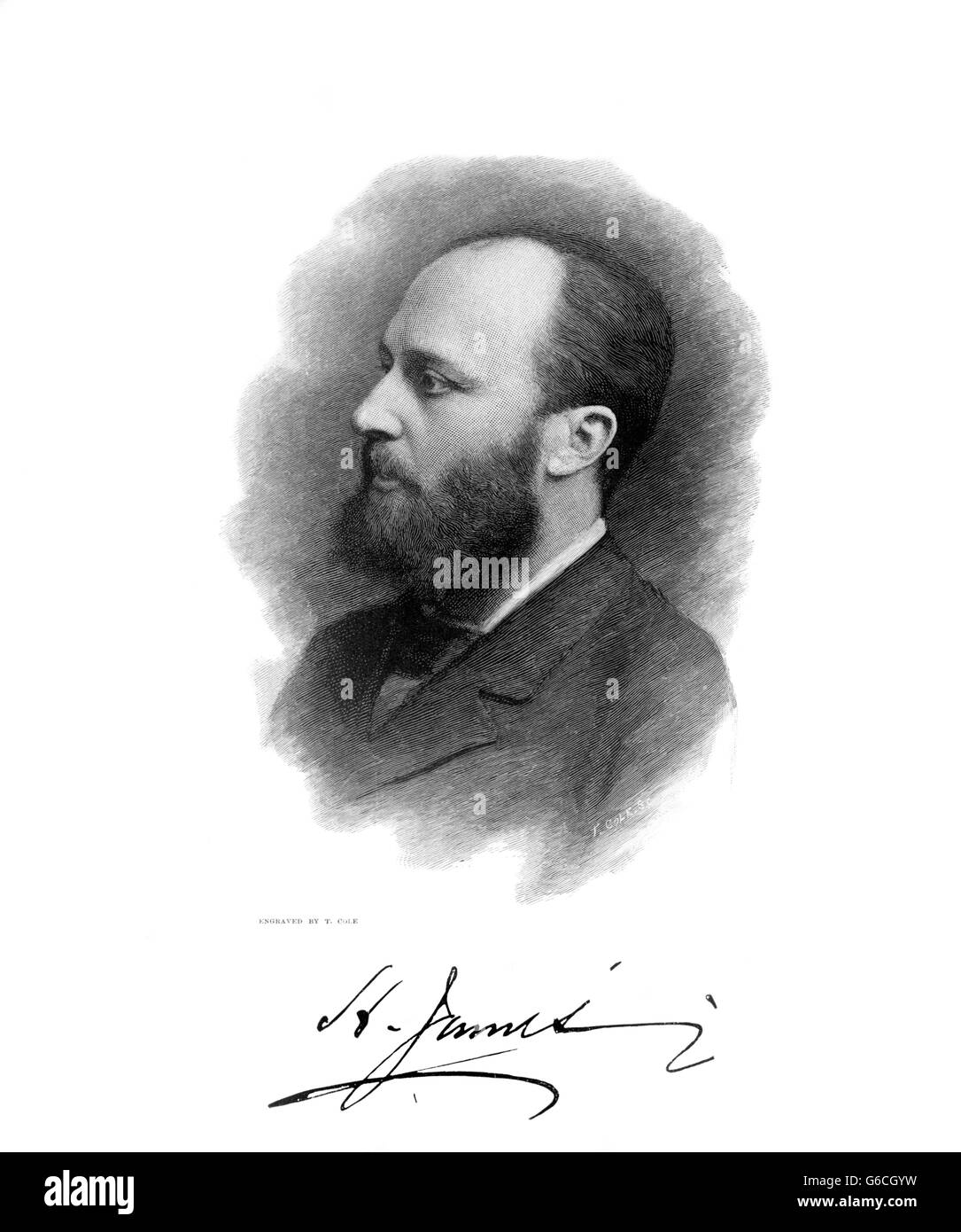 PORTRAIT OF AMERICAN NOVELIST HENRY JAMES WITH SIGNATURE - Stock Image