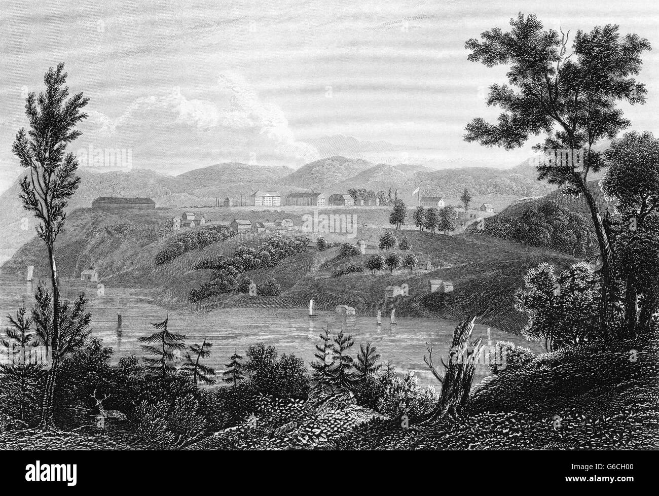 1830s 1834 ENGRAVING OF WEST POINT MILITARY COLLEGE NEW YORK ON HUDSON RIVER - Stock Image