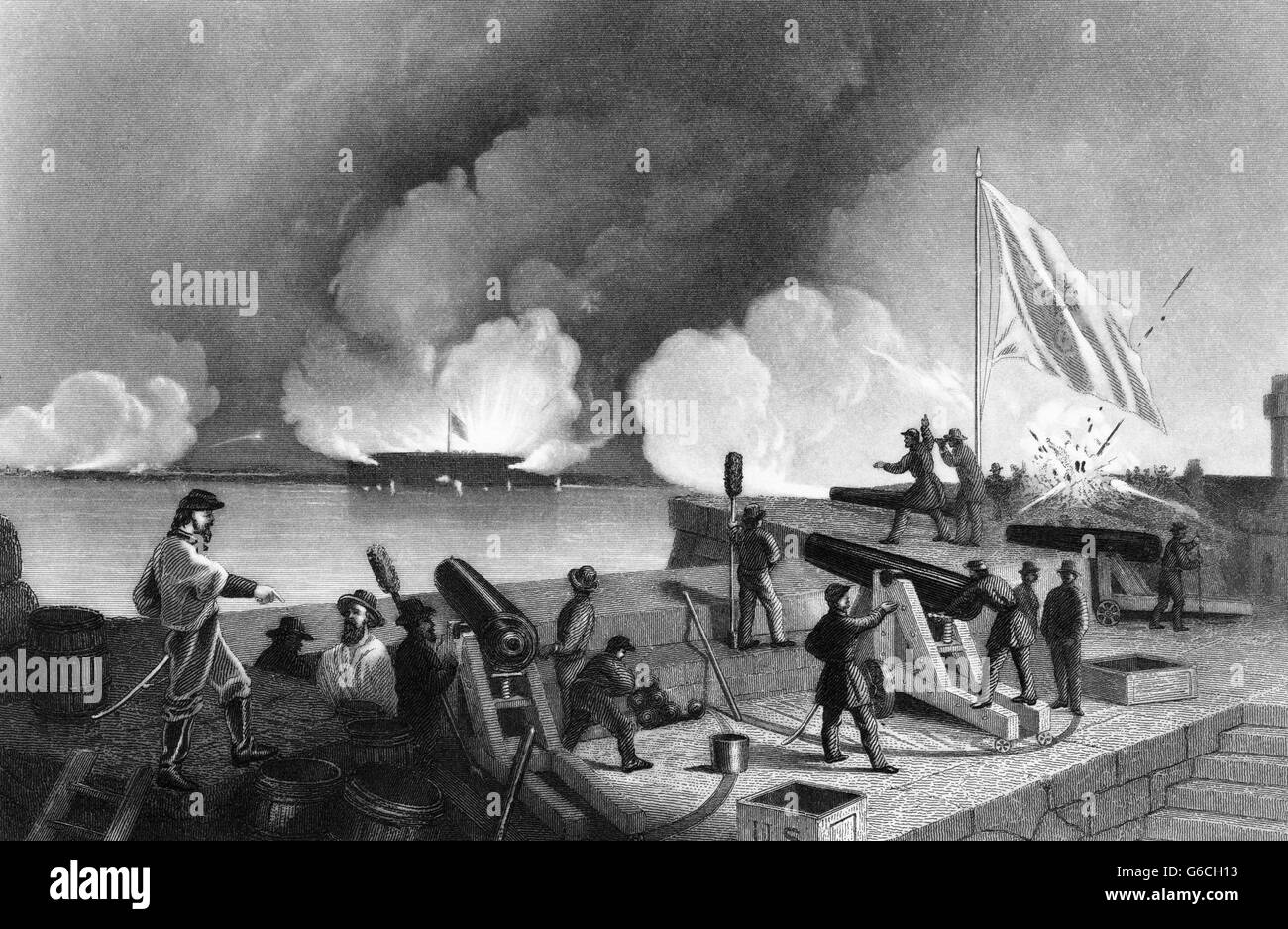 1860s APRIL 1861 BOMBARDMENT OF FORT SUMTER - Stock Image