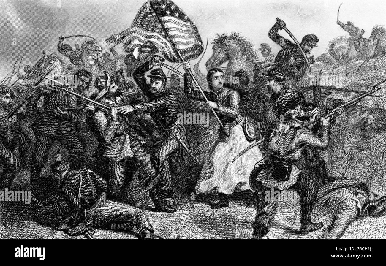 1860s A WOMAN IN BATTLE DURING CIVIL WAR KNOWN AS MICHIGAN BRIDGET HERE CARRYING A FLAG WAS THE WIFE OF A SOLDIER - Stock Image