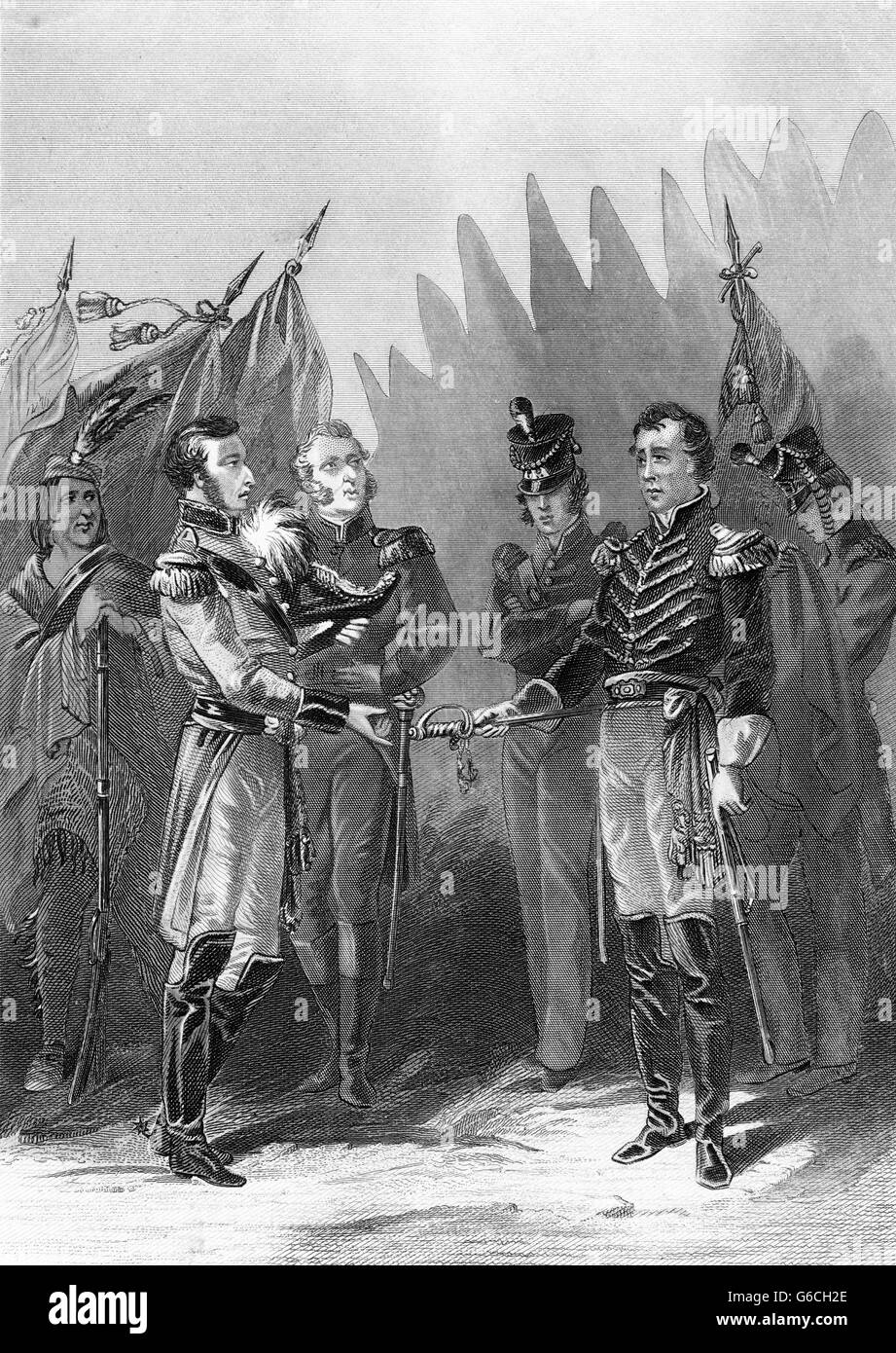 GENERAL WILLIAM HULL SURRENDERS DETROIT TO THE BRITISH AUGUST 16 DURING THE WAR OF 1812 - Stock Image