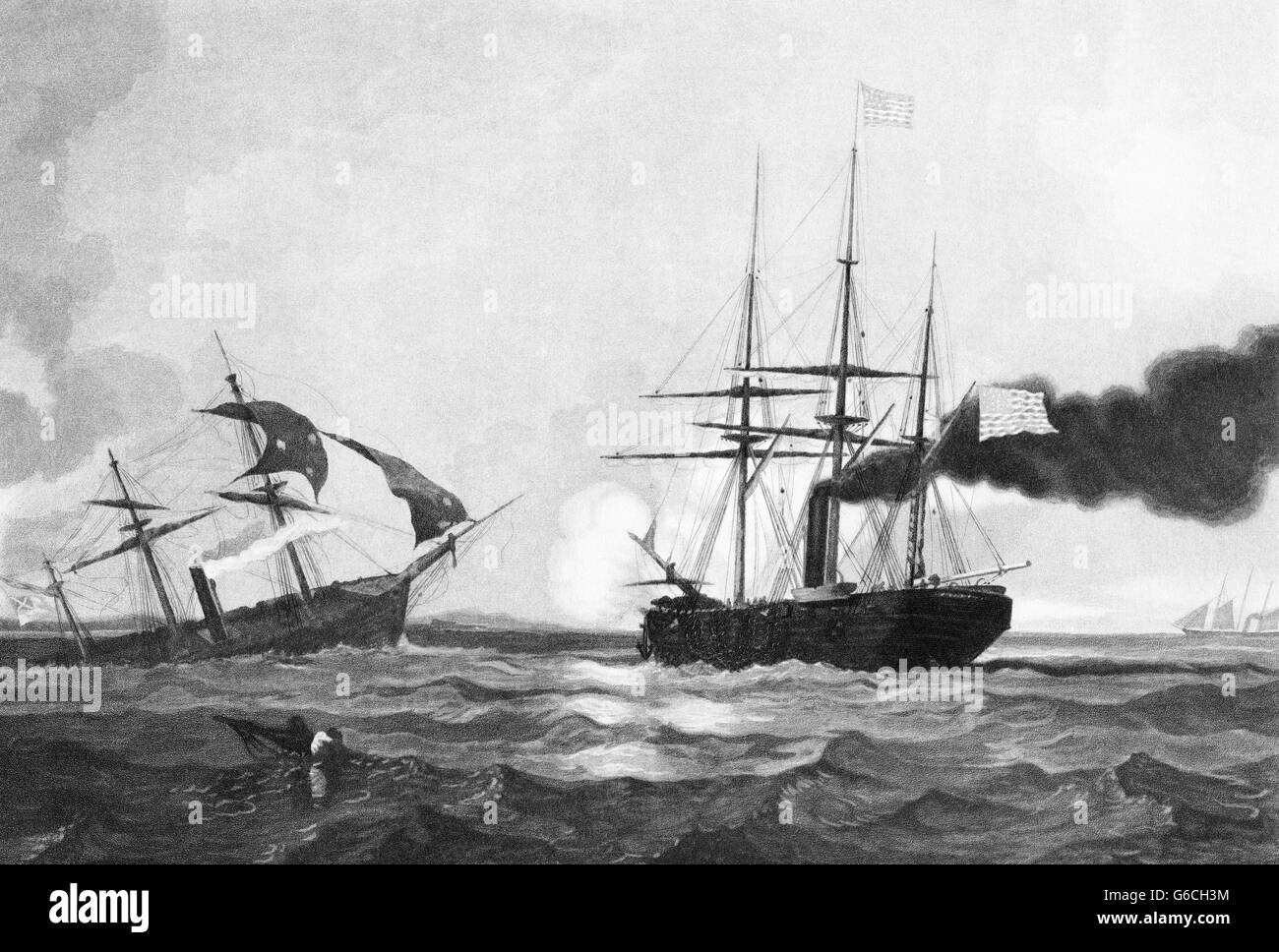 1860s JUNE 19 1864 CSS ALABAMA SINKING AFTER DEFEAT BY UNION SHIP THE USS KEARSARGE  SURVIVOR IN FOREGROUND CHERBOURG - Stock Image